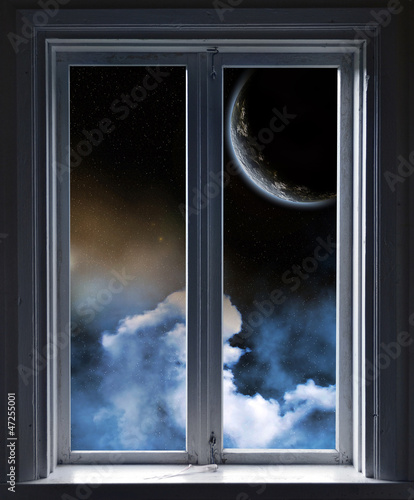 Window, Planet and stars through the window