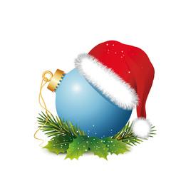 """Weihnachtsdeko """"Blaue Kugel mit Mütze und Zweige"""""""