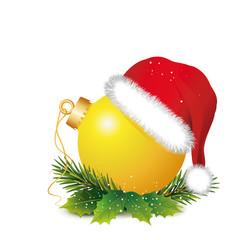 """Weihnachtsdeko """"Gelbe Kugel mit Mütze und Zweige"""""""