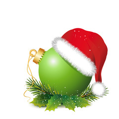 """Weihnachtsdeko """"Grüne Kugel mit Mütze und Zweige"""""""