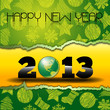 Happy New Year 2013 with green World Globe
