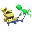View green puppet crash trolley with cases
