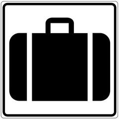 Schild weiß - Gepäckabgabe