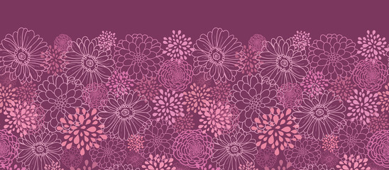 Vector purple field flowers elegant horizontal seamless ornament
