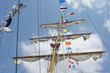 Masts and nautical flags on Schooner from Mexico