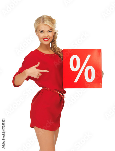 lovely woman in red dress with percent sign