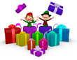 3D Elves with Christmas presents