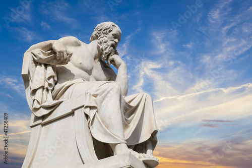 Foto op Aluminium Oude gebouw statue of Socrates from the Academy of Athens,Greece