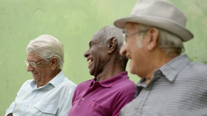Happy seniors, old men laughing and talking in park