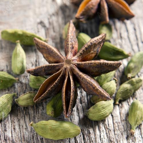 Spices. Anise stars, cardamom