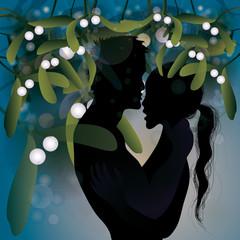 Kiss under mistletoe / Christmas tradition