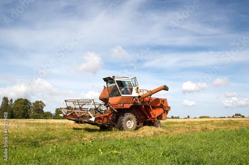old grain harvester