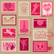 Vintage Love Valentine Stamps - for design, invitation, scrap