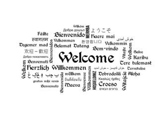 Welcome - Wordcloud Wörter - Begrüßung