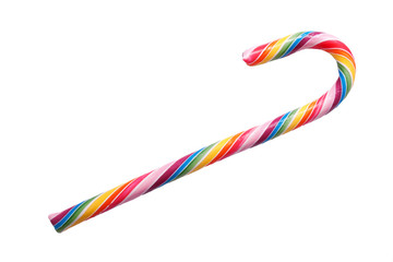 Colorful sweet candy cane. Isolated on white