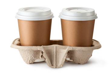 Two take-out coffee in holder