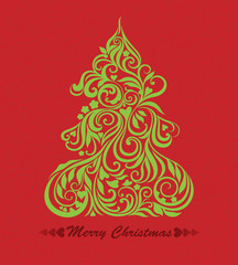 Vector card with christmas tree