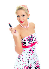 Pin-up portrait of woman with lipstick. Isolated on white.