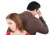 Young couple standing back to back having relationship difficult