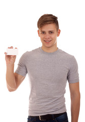 Young man holding businesscard