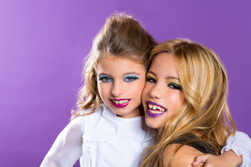 two friends fashiondoll kid girls with fashion purple makeup