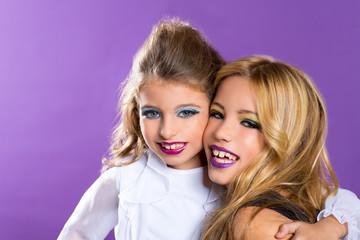 two friends fashiondoll kid girls with fashion purple makeup