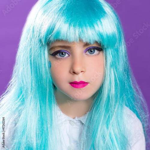 Children girl with blue truquoise long wig as fashiondoll