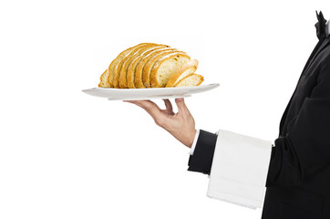 waiter in work uniformon with sliced bread