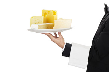 young waiter in work uniformon with cheese