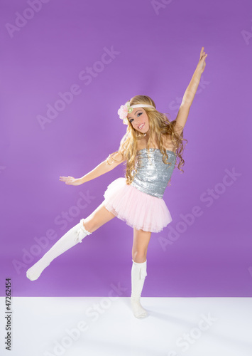 Children fashiondoll spring girl dancing on purple
