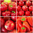 Red fruit and vegetables in the collage
