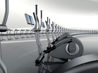 Futuristic modern gym with elliptical cross trainer
