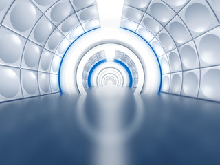Futuristic tunnel like spaceship corridor