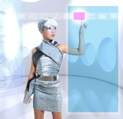 futuristic children girl in silver touch finger copyspace