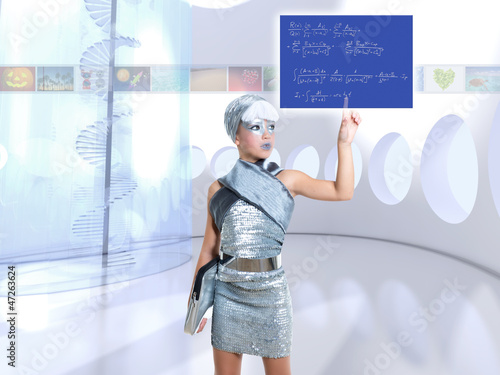 futuristic children girl in silver touch finger math formula