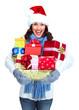 Santa helper Christmas girl with a presents.