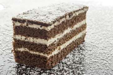 A cake on grated coconut