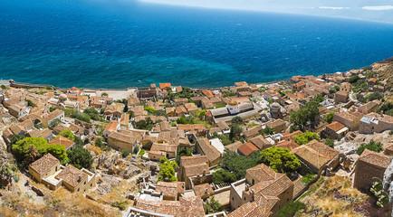 Monemvasia town in Laconia, Greece.