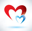 two hearts vector symbol, love concept