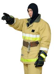 Firefighter points finger direction