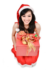 Santa woman  holding a gift box