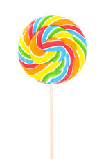 multicolored lollipop isolated on white
