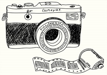 Hand drawn illustration of a photo camera