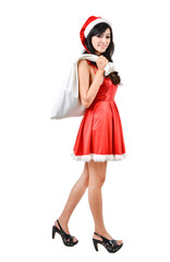 Santa woman  holding a white bag