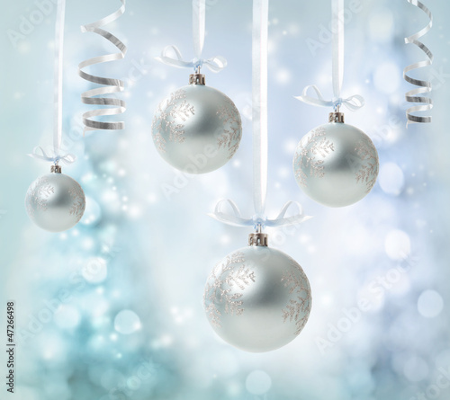 Hanging Silver Christmas Ornaments