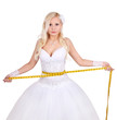 beautiful bride with measuring tape isolated