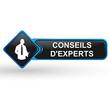 conseils d'experts sur bouton web carré design bleu