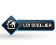 loi scellier sur bouton web carré design bleu