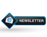 newsletter sur bouton web carré design bleu