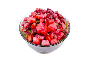 Vinaigrette. Russian salad with beets and other boiled vegetable